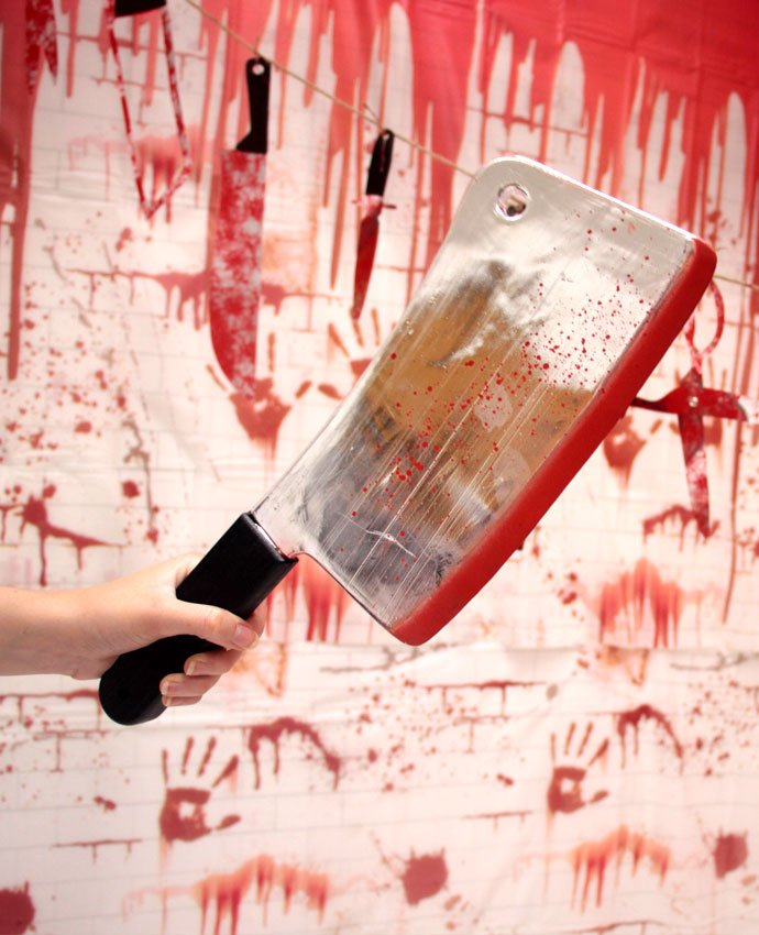 Zombie Photo Booth with huge cleaver prop