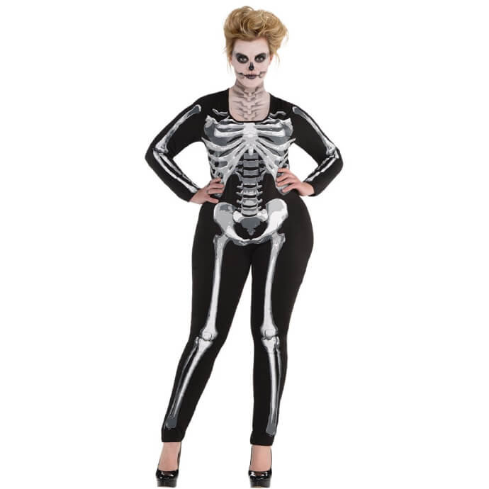 Woman in skeleton catsuit