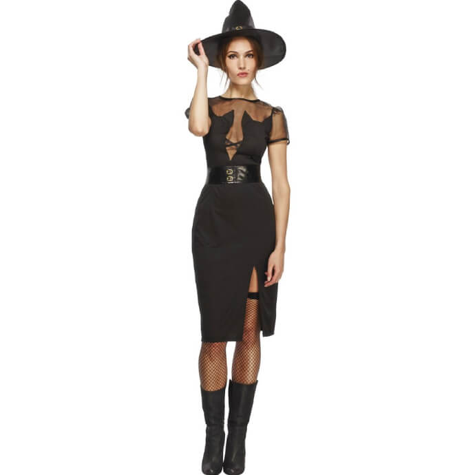 Woman in cat witch dress with fishnets, boots and witch hat