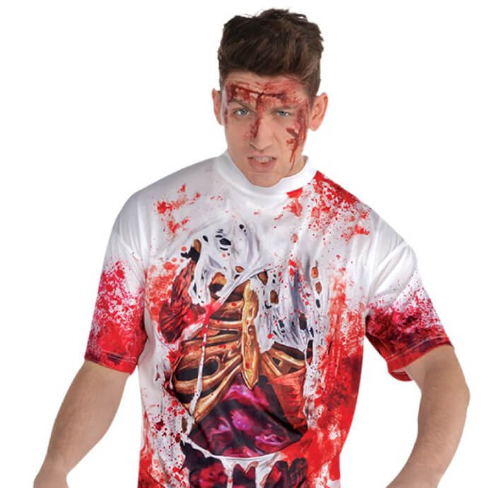 Man wearing a tshirt with a spilling guts illusion