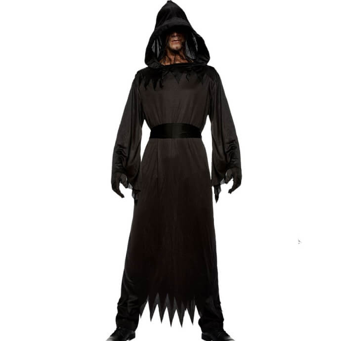 Person wearing a black hooded phantom costume with face mesh