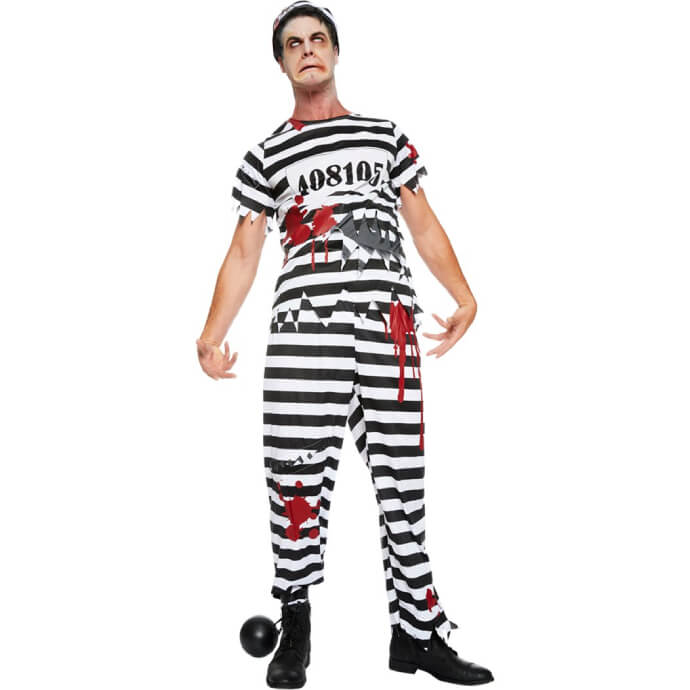 Man in zombie convict outfit with ball and chain