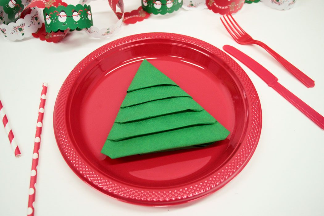 Christmas Tree Napkin Folding - REALLY EASY Christmas Tree Napkin Fold Party Delights Blog
