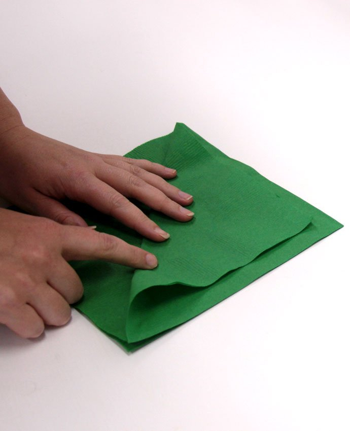 Christmas Tree Napkin Folding - Step 1