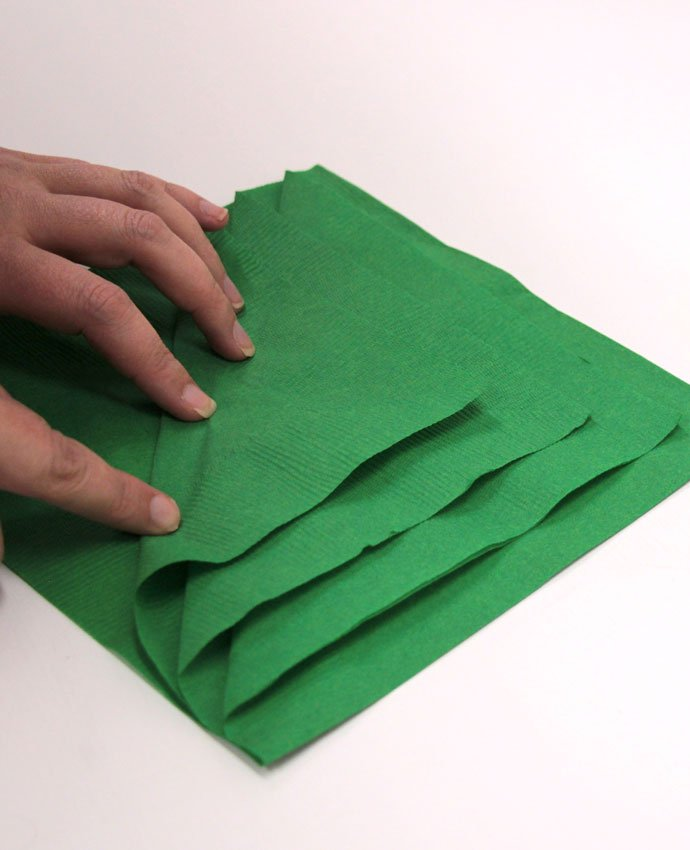 Christmas Tree Napkin Folding - Step 2