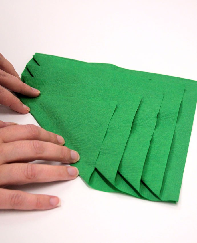 Christmas Tree Napkin Folding - Step 3