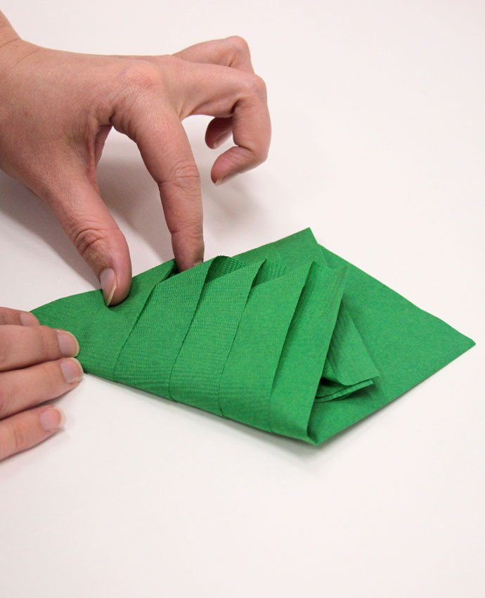 Christmas Tree Napkin Folding - Step 4