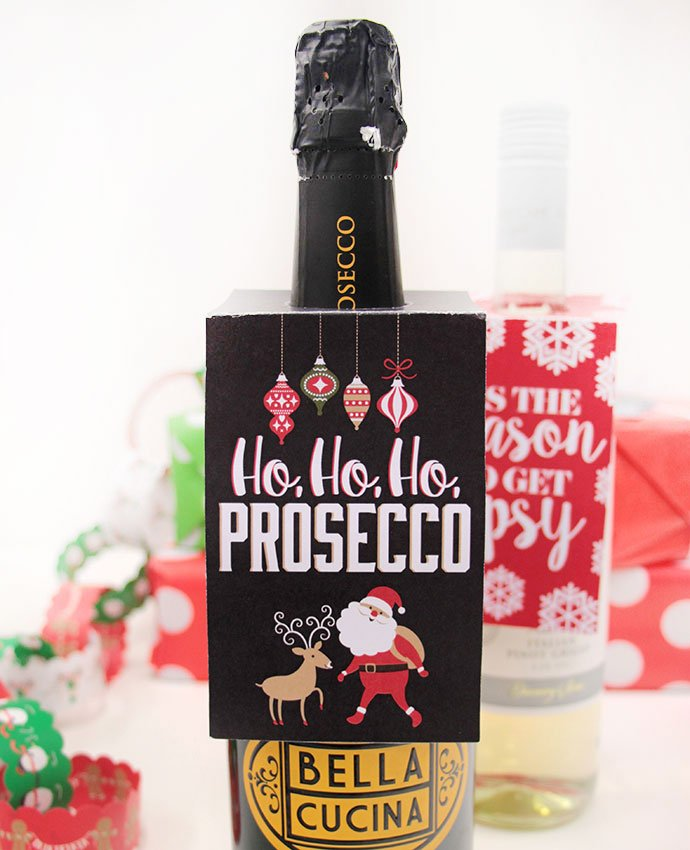Ho Ho Ho Prosecco Wine Bottle Tag