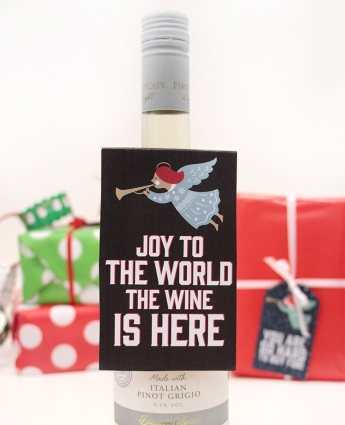 Joy to the World the Wine is Here Wine Bottle Tag