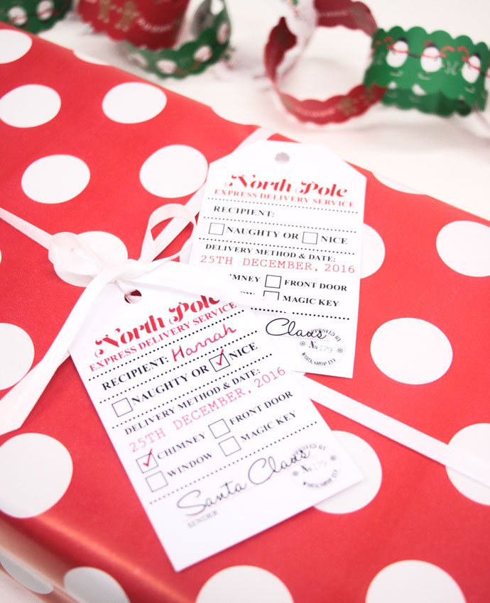 image about Christmas Tags Printable titled Cost-free Printable Santa Reward Tags Get together Delights Weblog