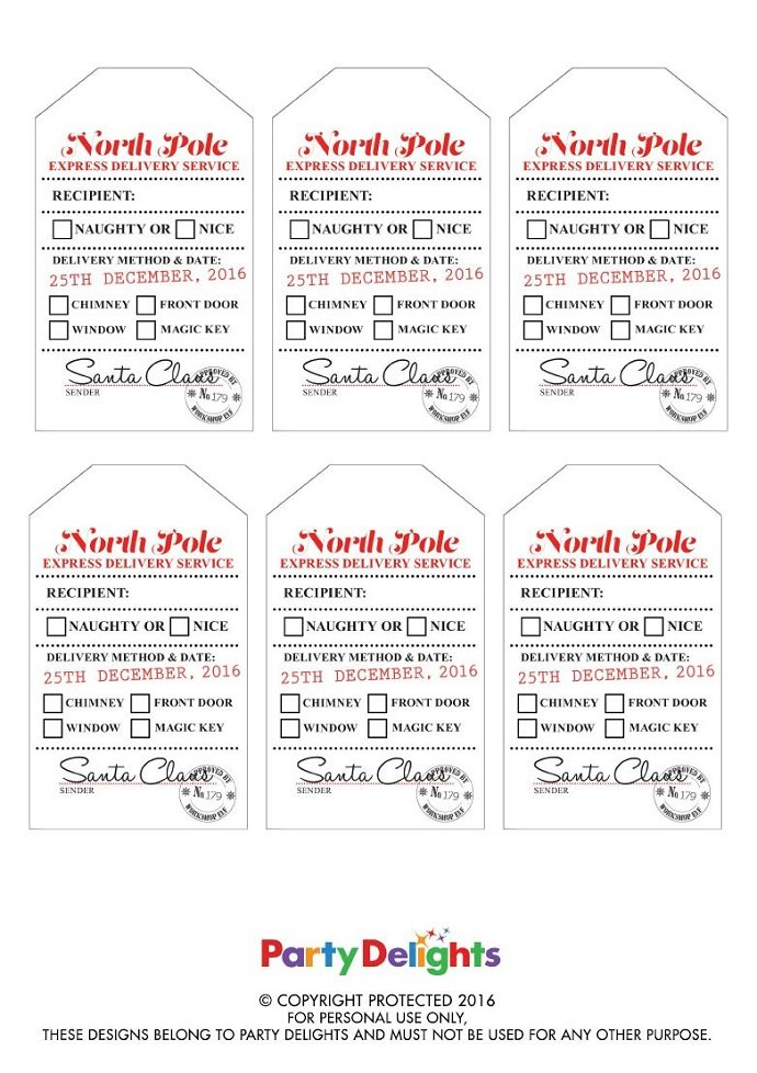picture regarding Free Printable Santa Gift Tags named Totally free Printable Santa Reward Tags Social gathering Delights Blog site