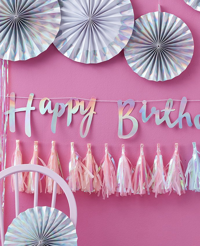 Iridescent Happy Birthday Letter Bunting