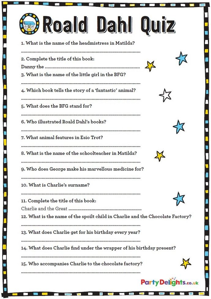 image relating to Food Trivia Questions and Answers Printable known as No cost Printable Roald Dahl Quiz Bash Delights Site