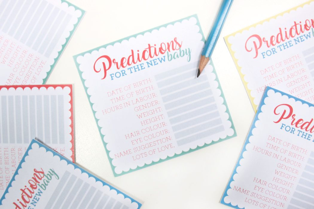 Free Printable Baby Shower Prediction Cards