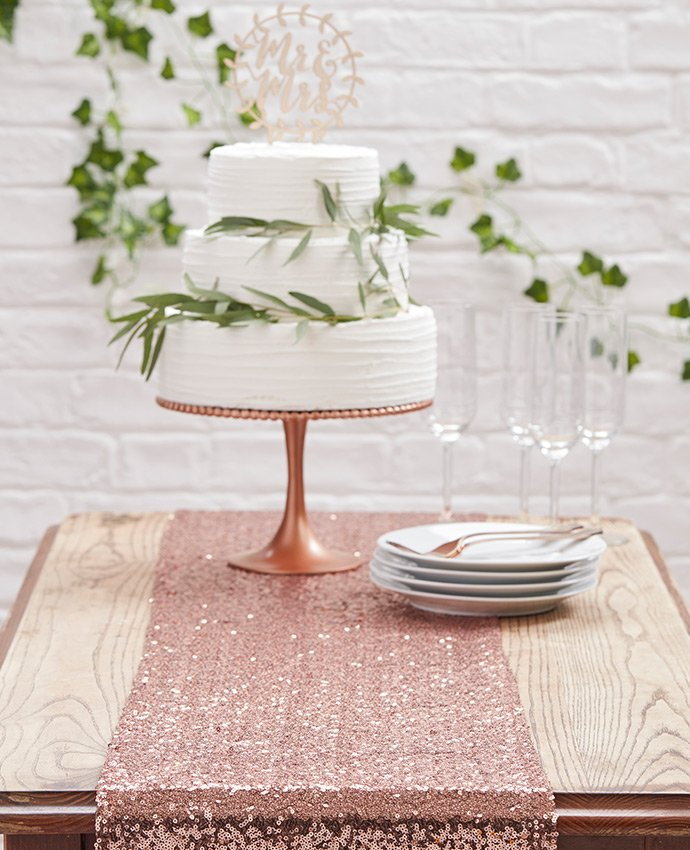Rose Gold Table Running and White Wedding Cake