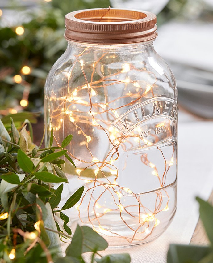String Lights in a Jar