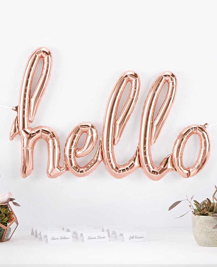 Rose Gold Hello Balloon