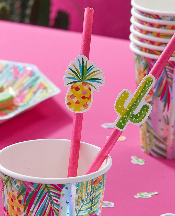 Pineapple & Cactus Straw Toppers