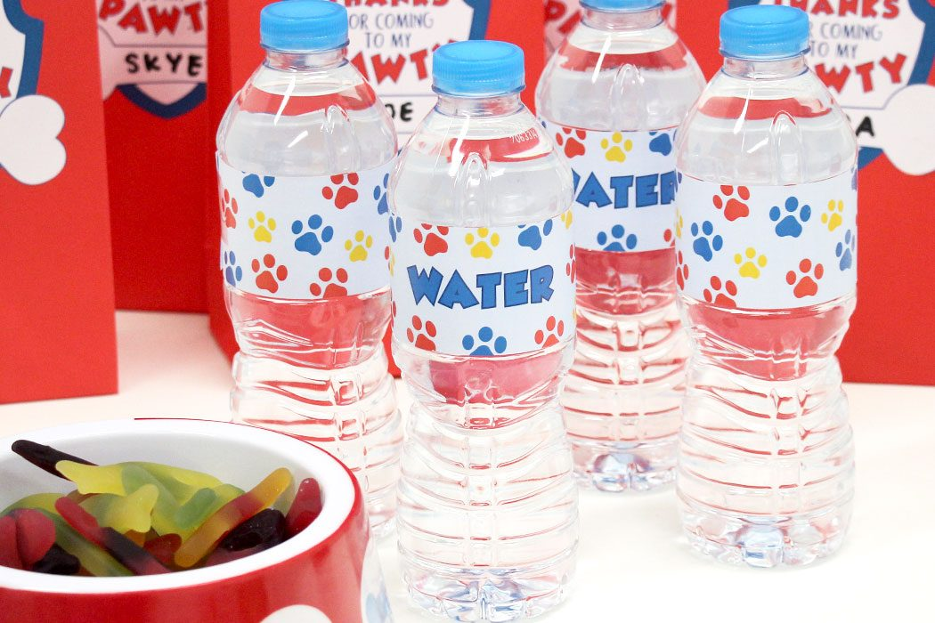 picture relating to Free Printable Water Bottle Labels called Cost-free Printable Paw Patrol H2o Bottle Labels Occasion