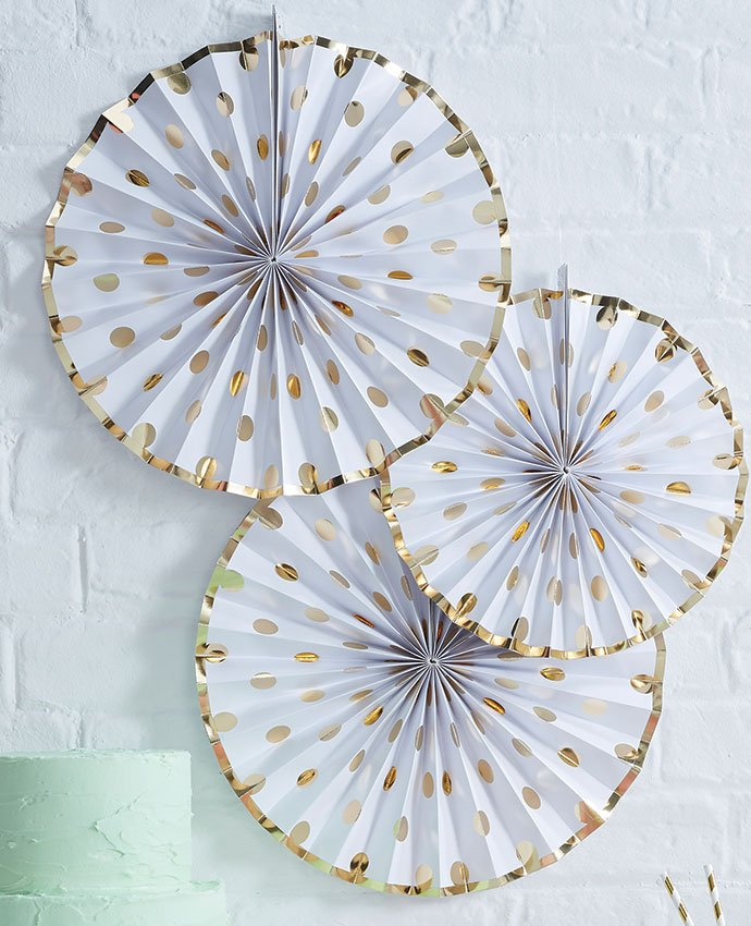 Gold Polka Dot Fan Decorations