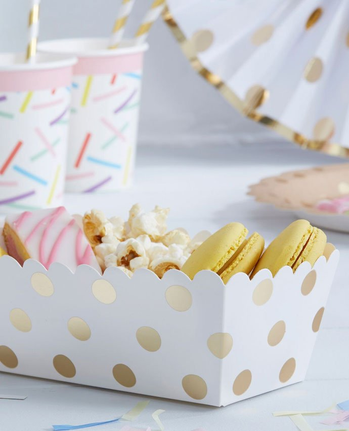 Gold Polka Dot Food Trays