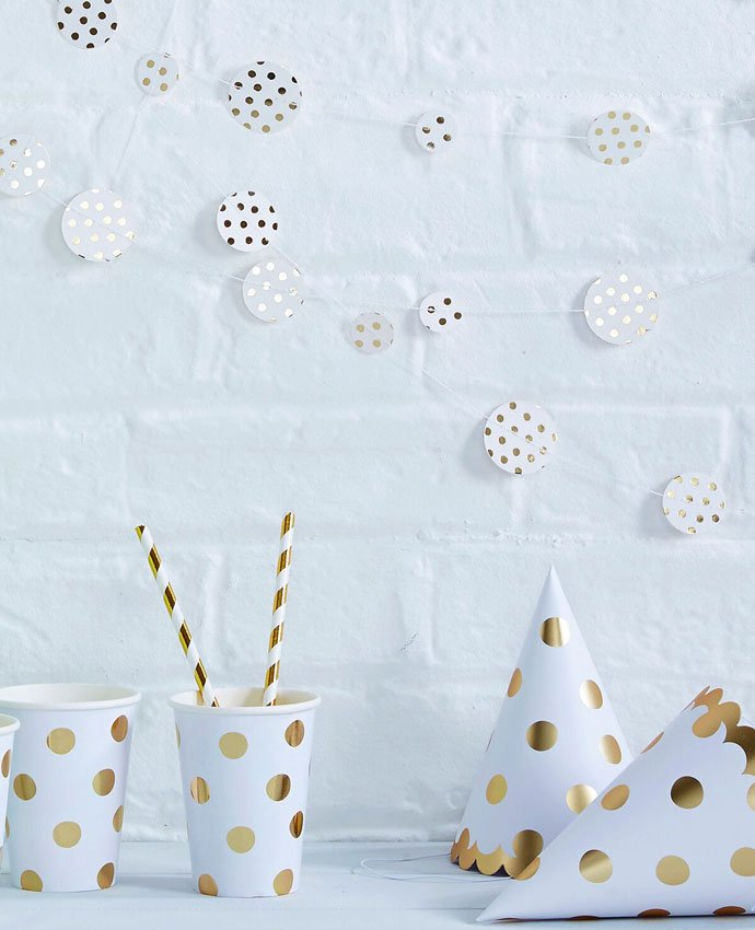 Gold Polka Dot Party Hats & Cups