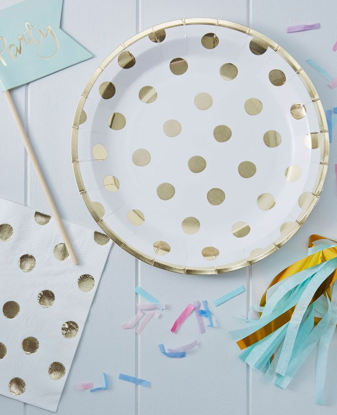Gold Polka Dot Party Plates