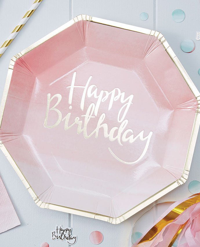 Pink Happy Birthday Plates