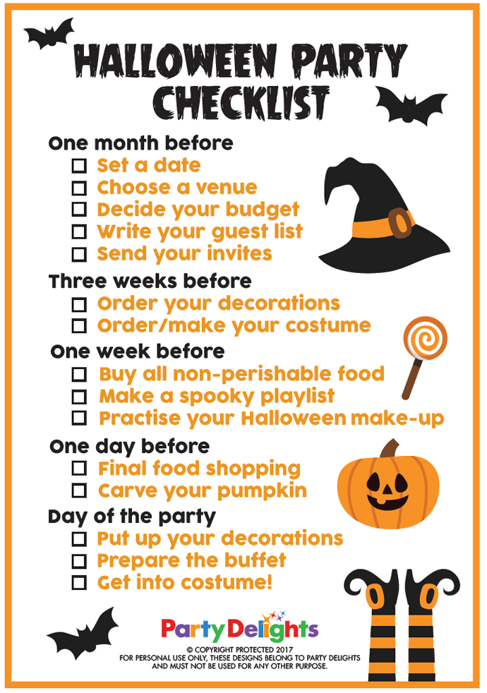 What You Need For A Hallloween Party Printable Checklist