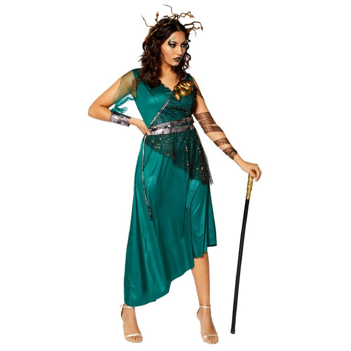 Woman with dark brown hair wearing a Medusa costume including green dress, snake headband and snake brooch