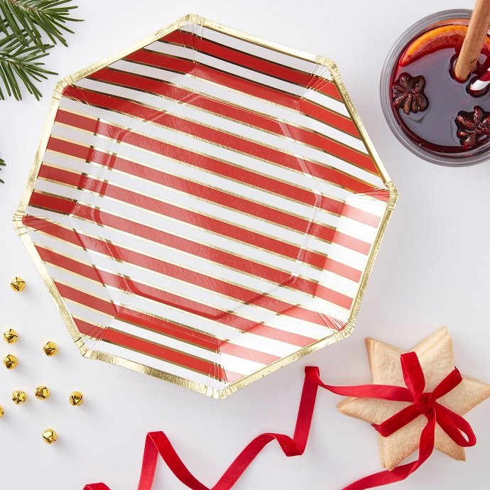 Candy Cane Striped Paper Plates