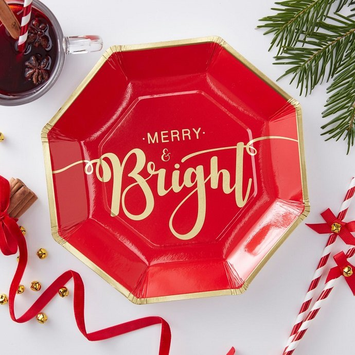 Red & Gold Christmas Plates