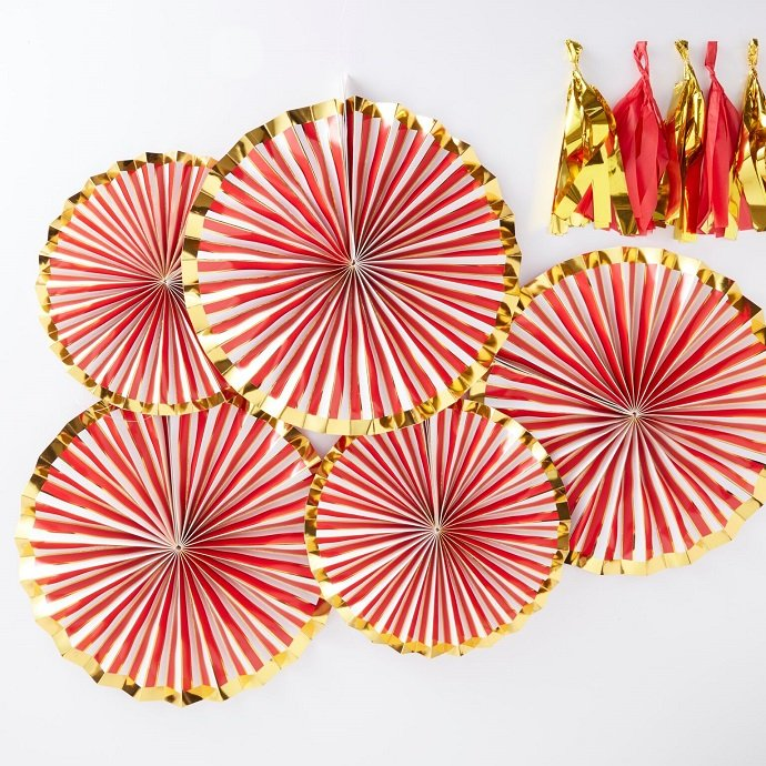 Red & Gold Fan Decorations for Christmas