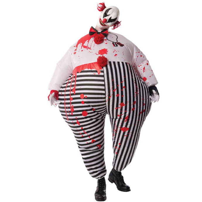 Man wearing an inflatable creepy clown costume and mask