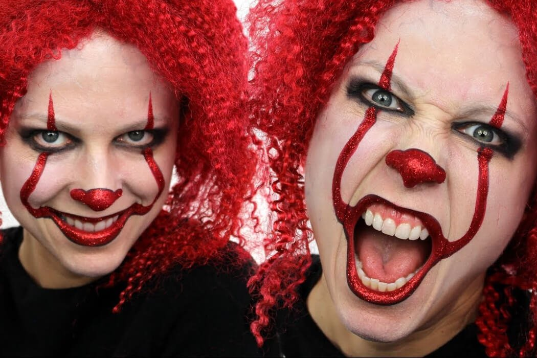 Two images of a woman with Pennywise makeup