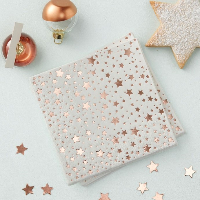 Rose Gold Christmas Party Napkins