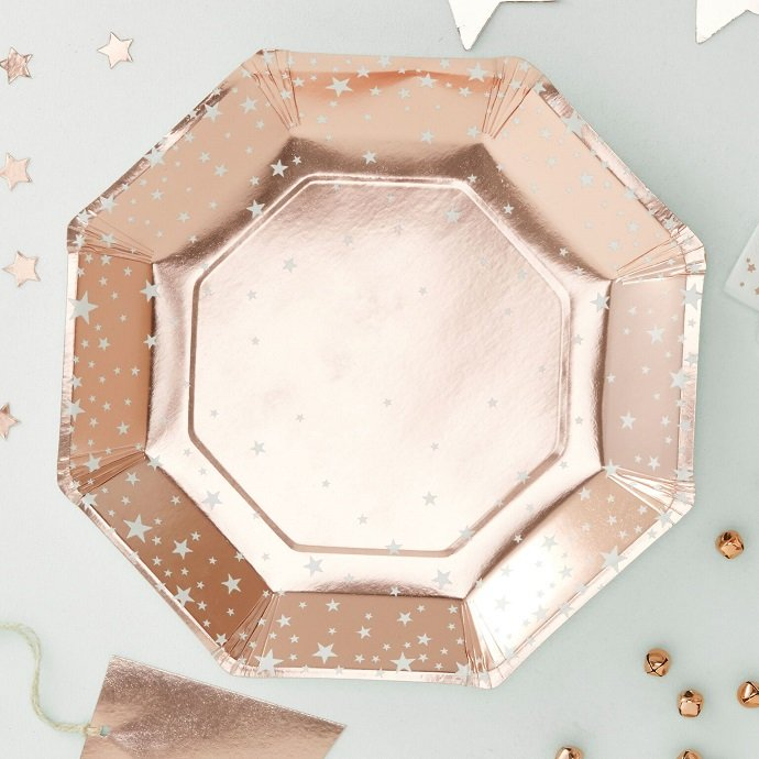 Rose Gold Christmas Party Plates