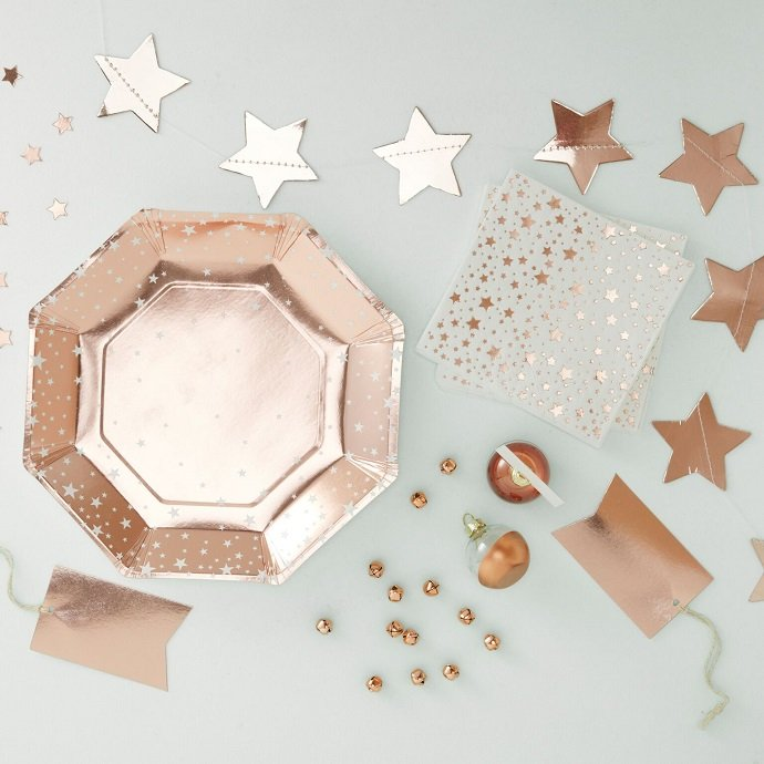 Rose Gold Christmas Party Supplies