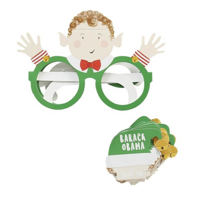 "Elf guess who game with glasses featuring elf and hat that says ""Barack Obama"""
