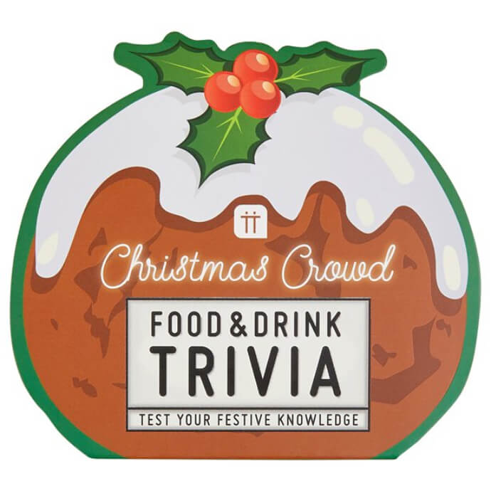 Christmas Crowd food and drink trivia in a Christmas pudding shape box
