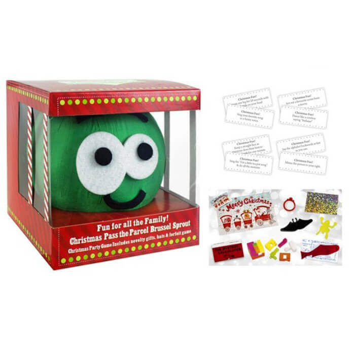 Pass the parcel sprout peeling game in box with an example of the prizes inside