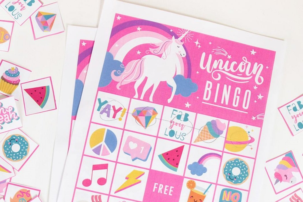 graphic about Printable Bingo for Kids identify Cost-free Printable Unicorn Bingo Occasion Delights Web site