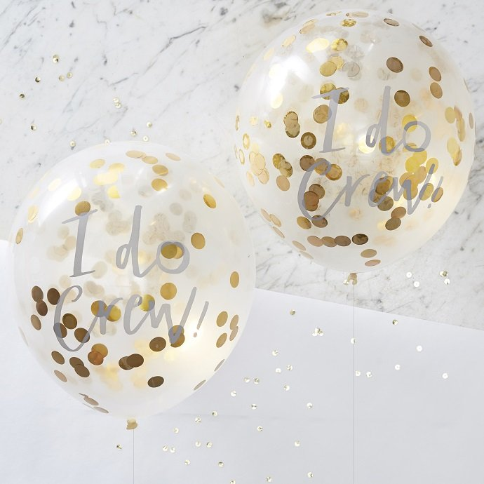 I Do Crew Gold Confetti Balloons