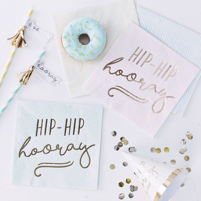 Pastel Hip Hip Hooray Napkins