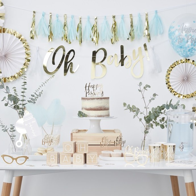 Blue & Gold Baby Shower Supplies