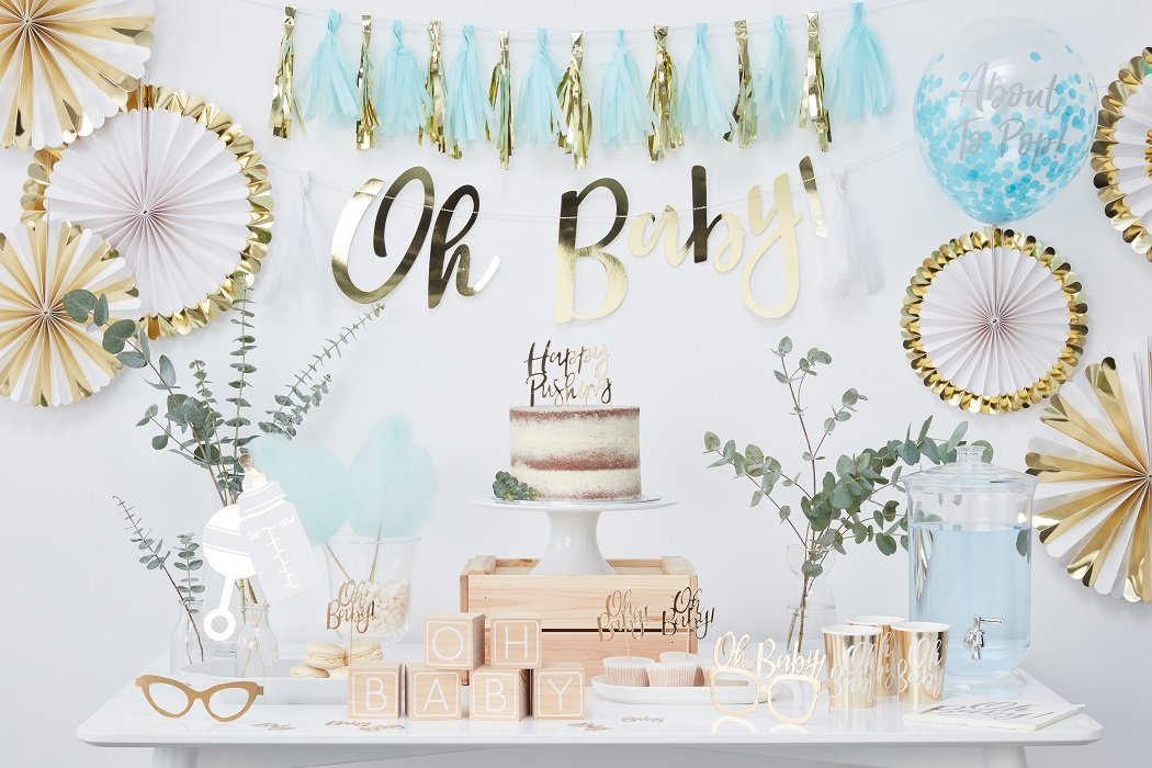 Blue Gold Baby Shower Ideas Party Delights Blog