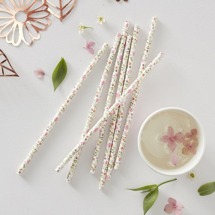 Floral Straws for English Tea Party
