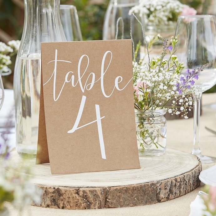 Kraft Table Number Cards