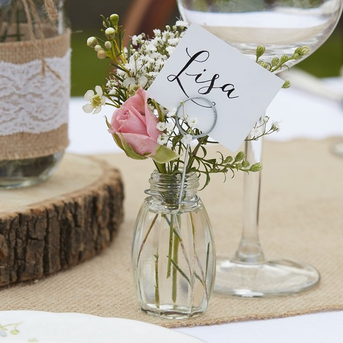 Mini Glass Vase Place Card Holders