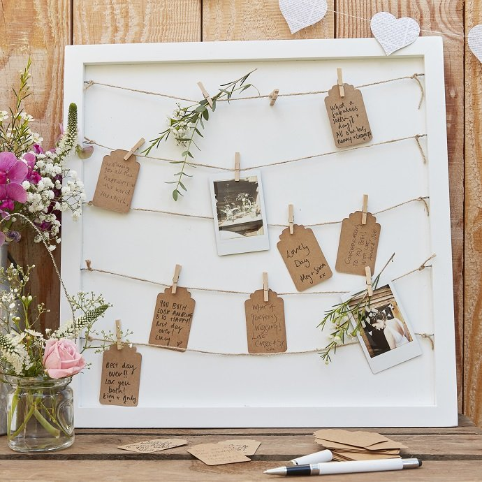 Peg & String Rustic Wedding Guest Book